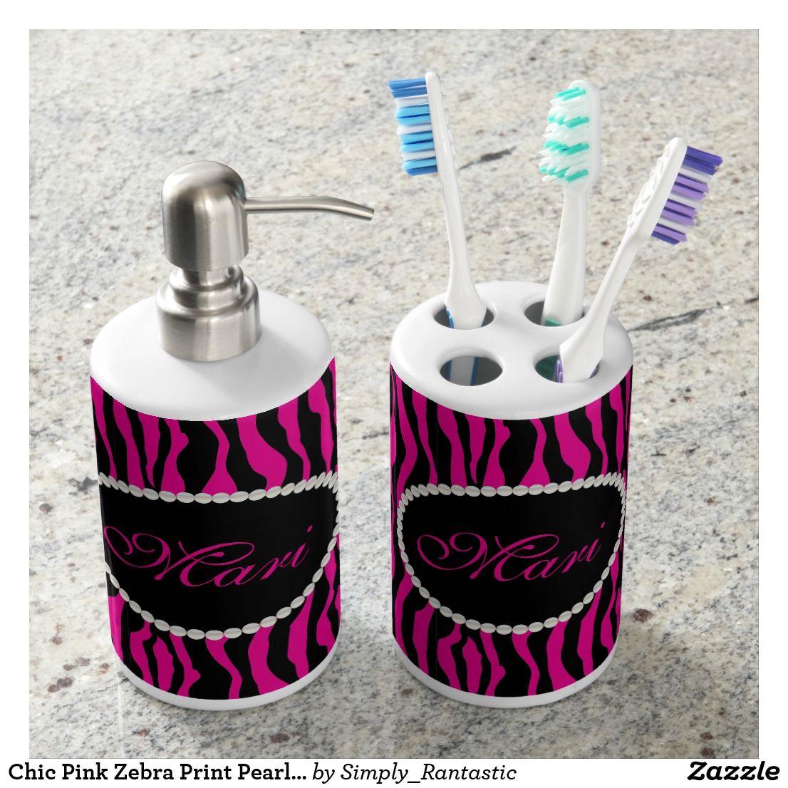 Chic Pink Zebra Print Pearl Monogram Soap Dispenser & Toothbrush ...