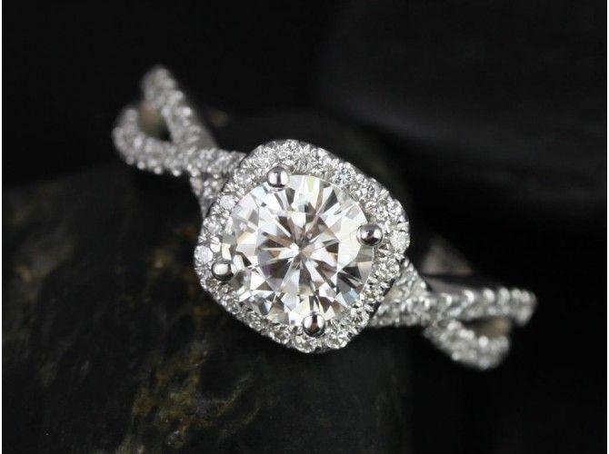Rosados Box Josephine 7mm 14kt White Gold Round F1- Moissanite and Diamonds Twisted Cushion Halo Engagement Ring