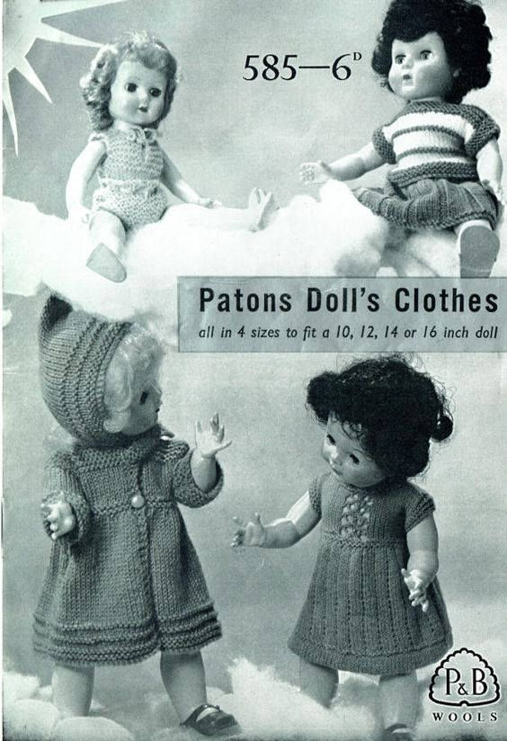 c20c99493ea5 Patons 585 Doll Clothes Knit Patterns Ginny Tiny Tears Rosebud ...