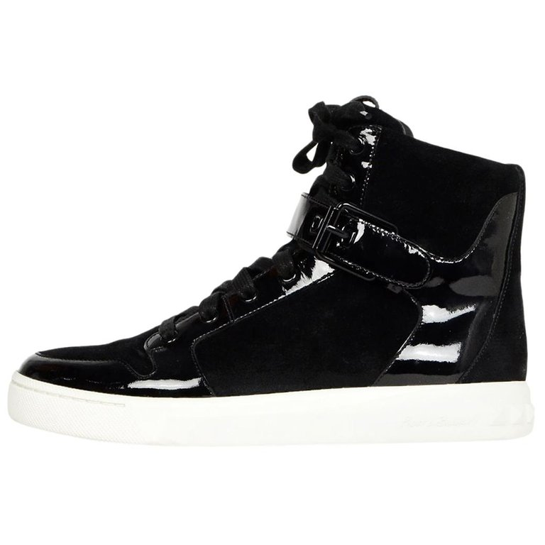 Balmain Flint Pierre Top Suedepatent Leather Shoes High oeCxBWQrd