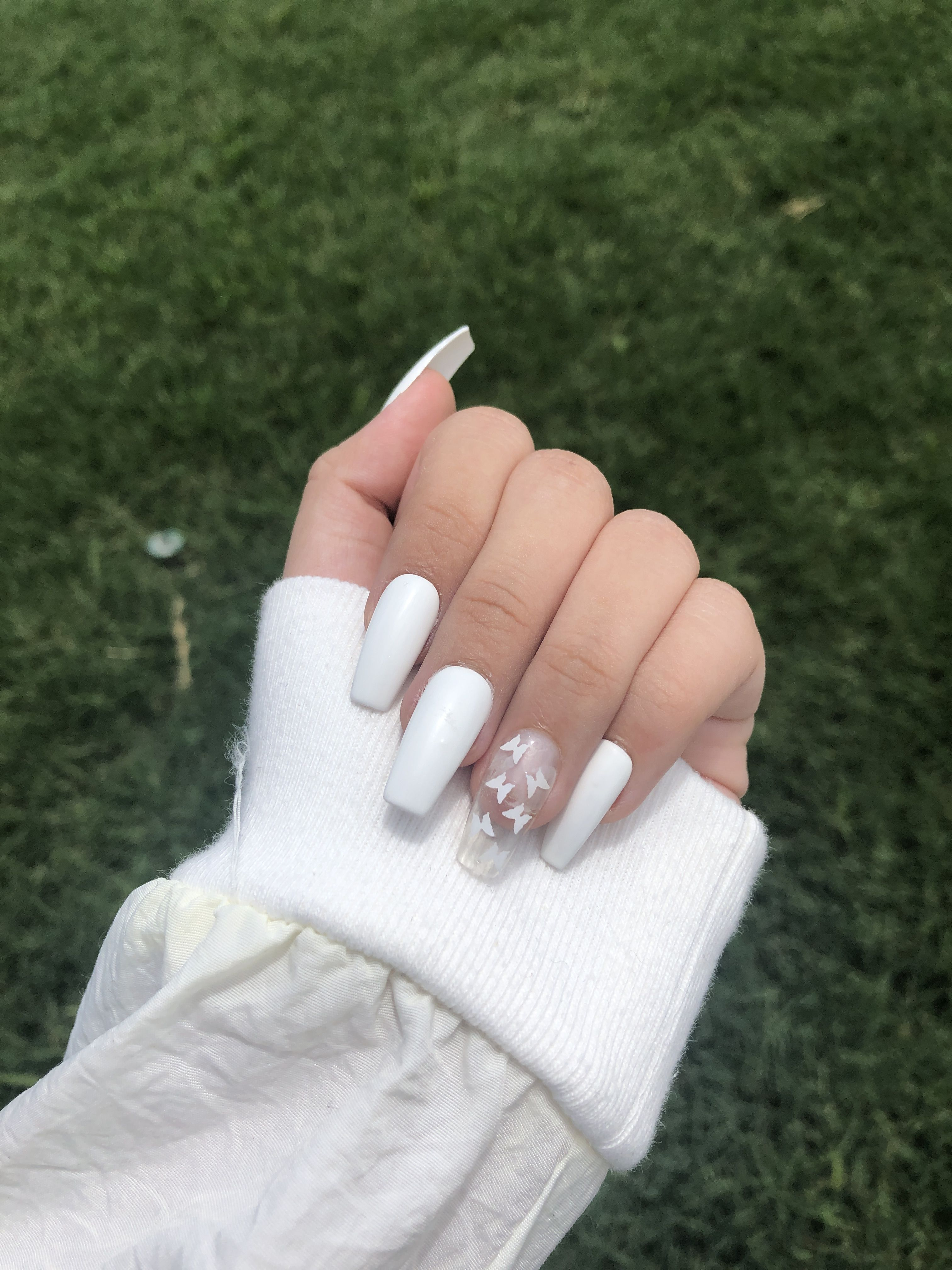 Butterfly Nails White Nails Press On Nails Birthday Gift Idea In 2020 Acrylic Nails Coffin Short Coffin Shape Nails Pink Acrylic Nails