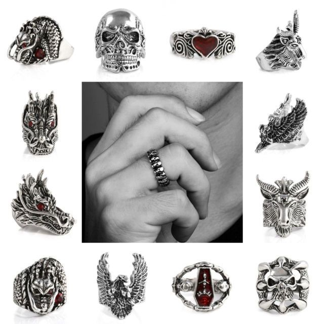 Vintage Men/'s Stainless Steel Fashion Gothic Punk Biker Finger Rings Jewelry New