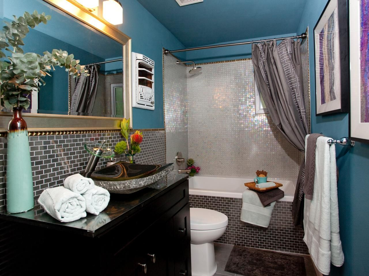 small bathroom decorating ideas | glass mosaic tiles, vanities and