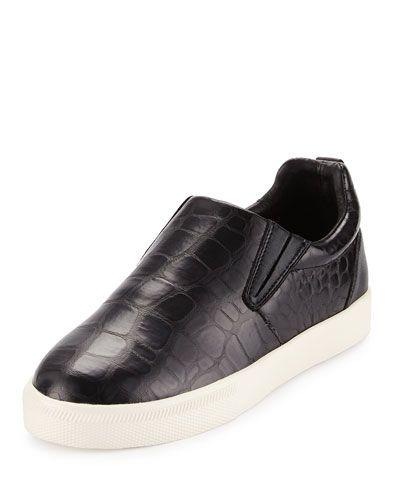 Illico Crocodile-Embossed Skate Sneaker, Black