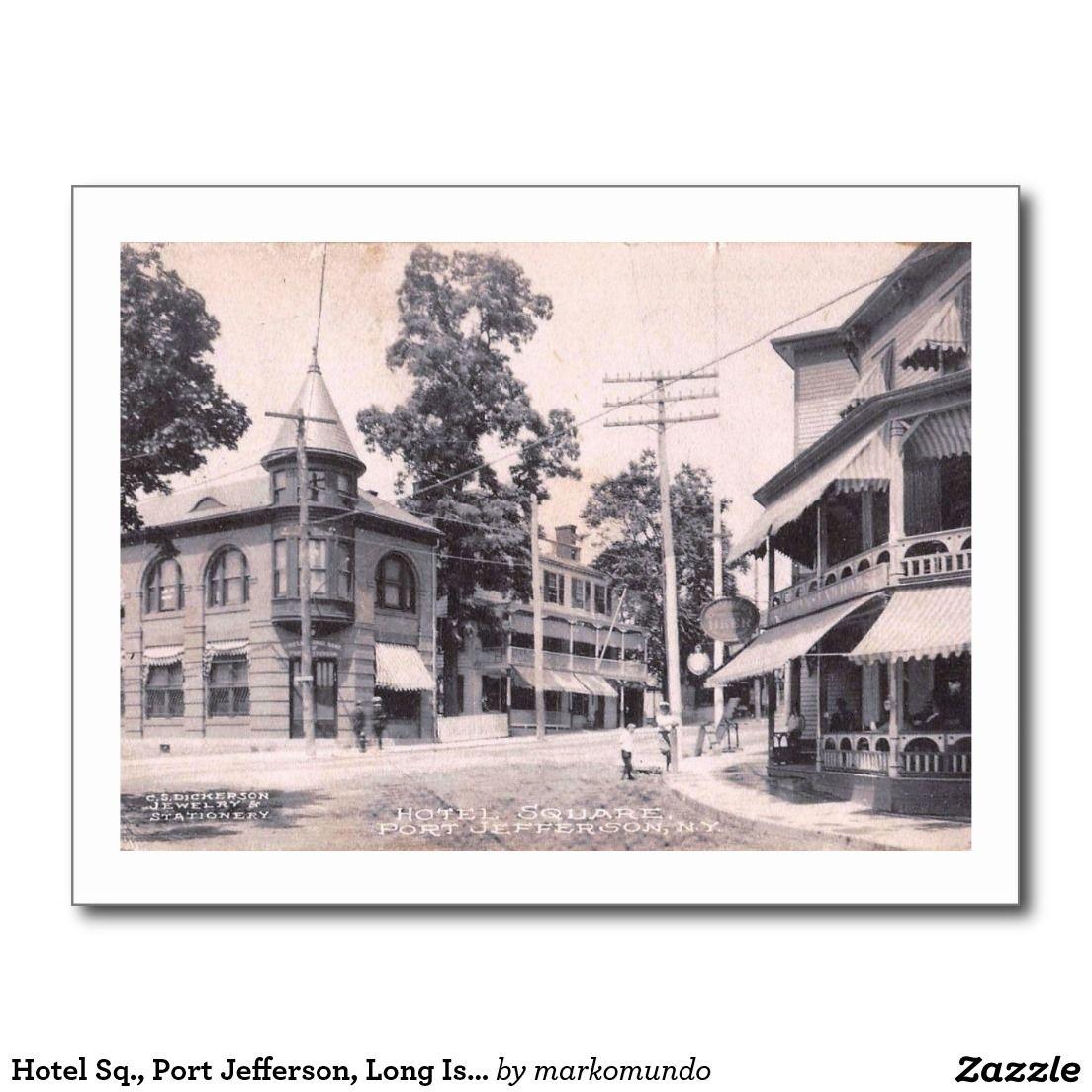 Hotel Sq Port Jefferson Long Island Ny Vintage Postcard