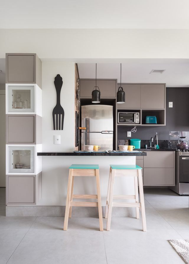 Me gusta la combinación de la barra con la cocina | Cocinas y todo ...