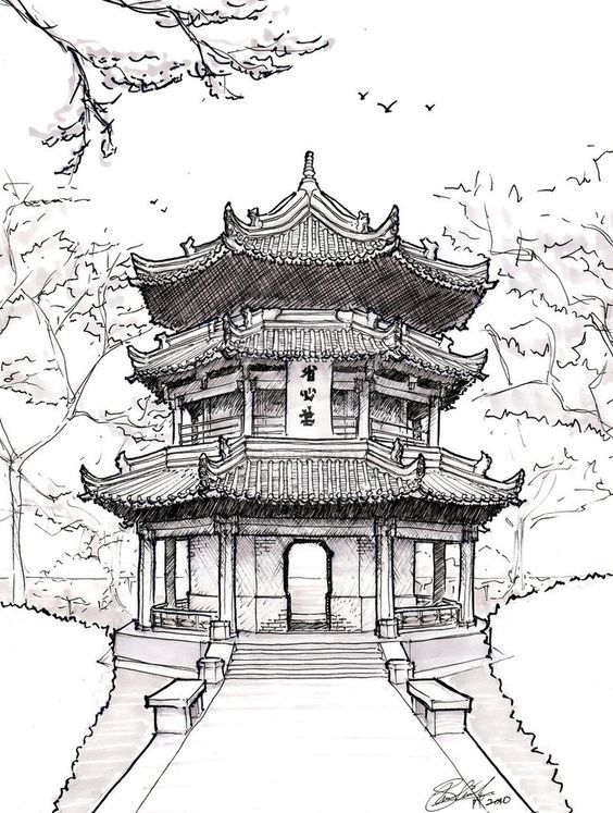 chinese architecture drawing pagoda