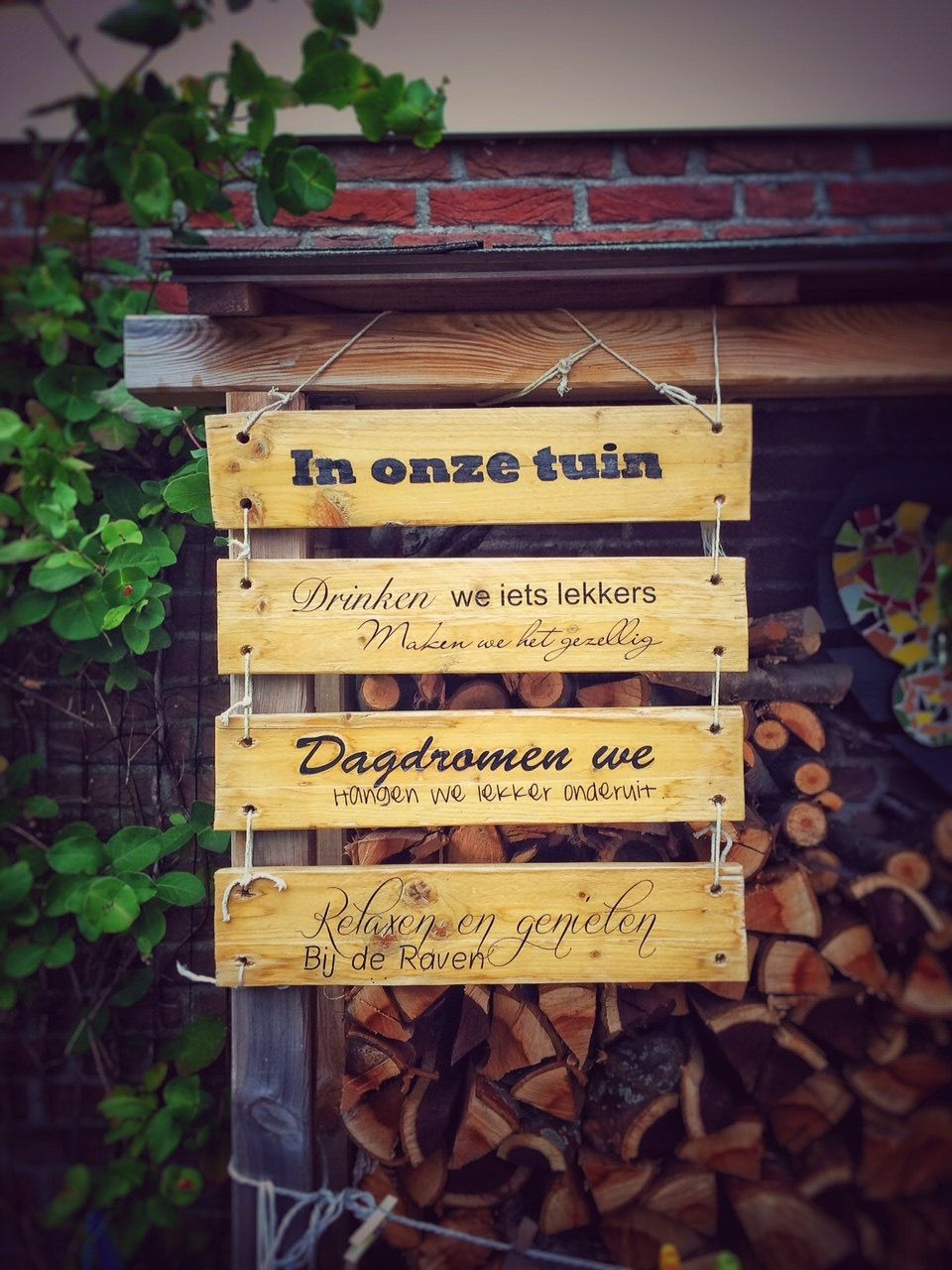 Gepersonaliseerd houten tekstbord paneel als decoratie in uw tuin of op uw veranda - Houten tuin decoratie ...