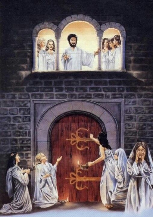 Matthew 25 1 Then The Kingdom Of The Heavens Will Become Like Ten Virgins That Took Their Lamps And Went Out To Meet Bible Pictures Bible Art Catholic Images