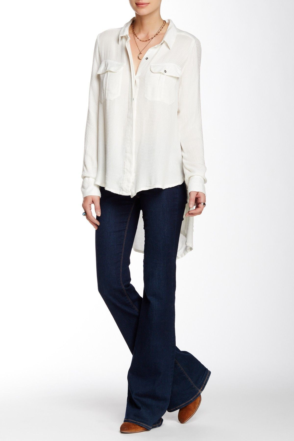 Free People One of the Guys Button Front Shirt in Ivory, Size XS