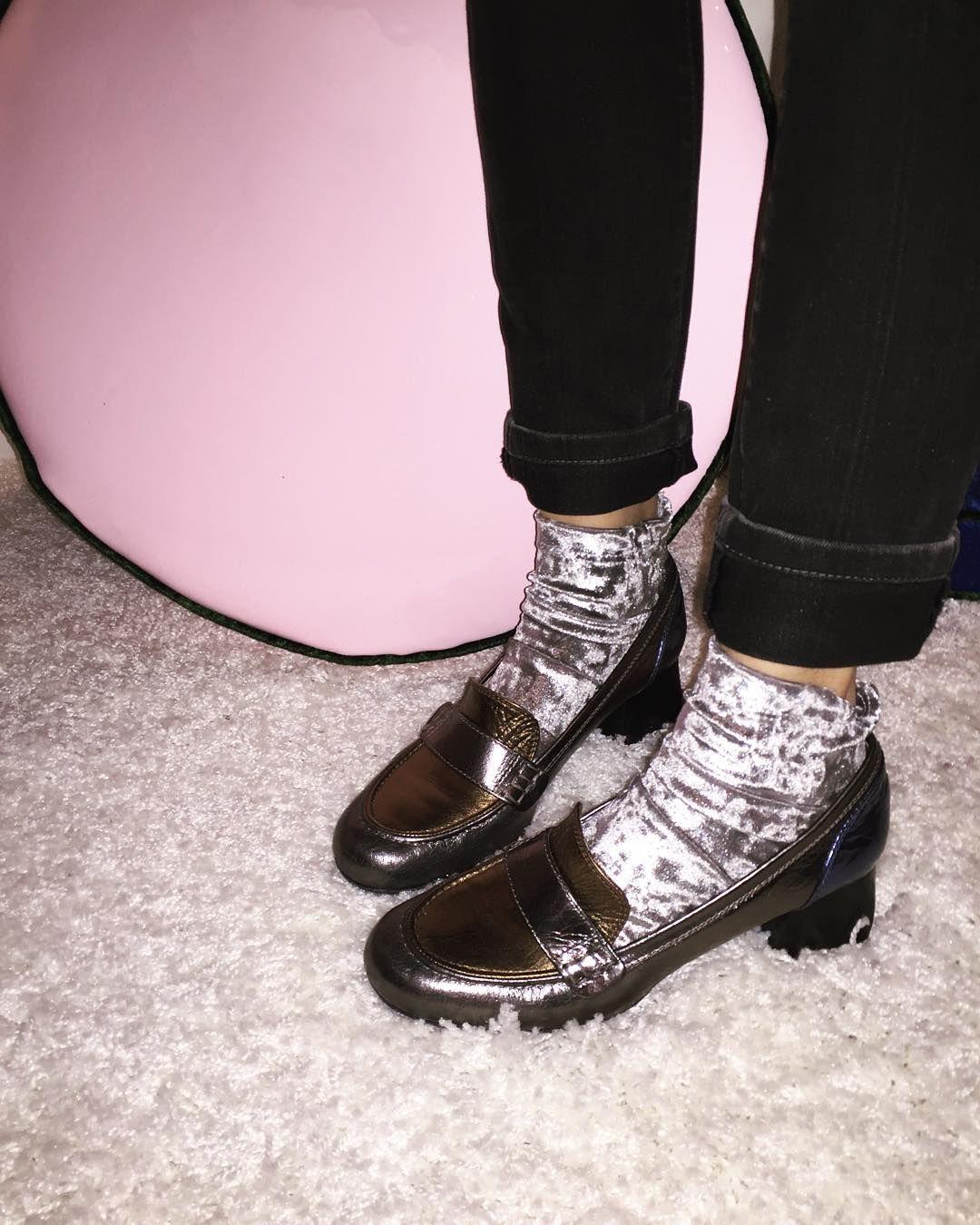 silver velvet socks