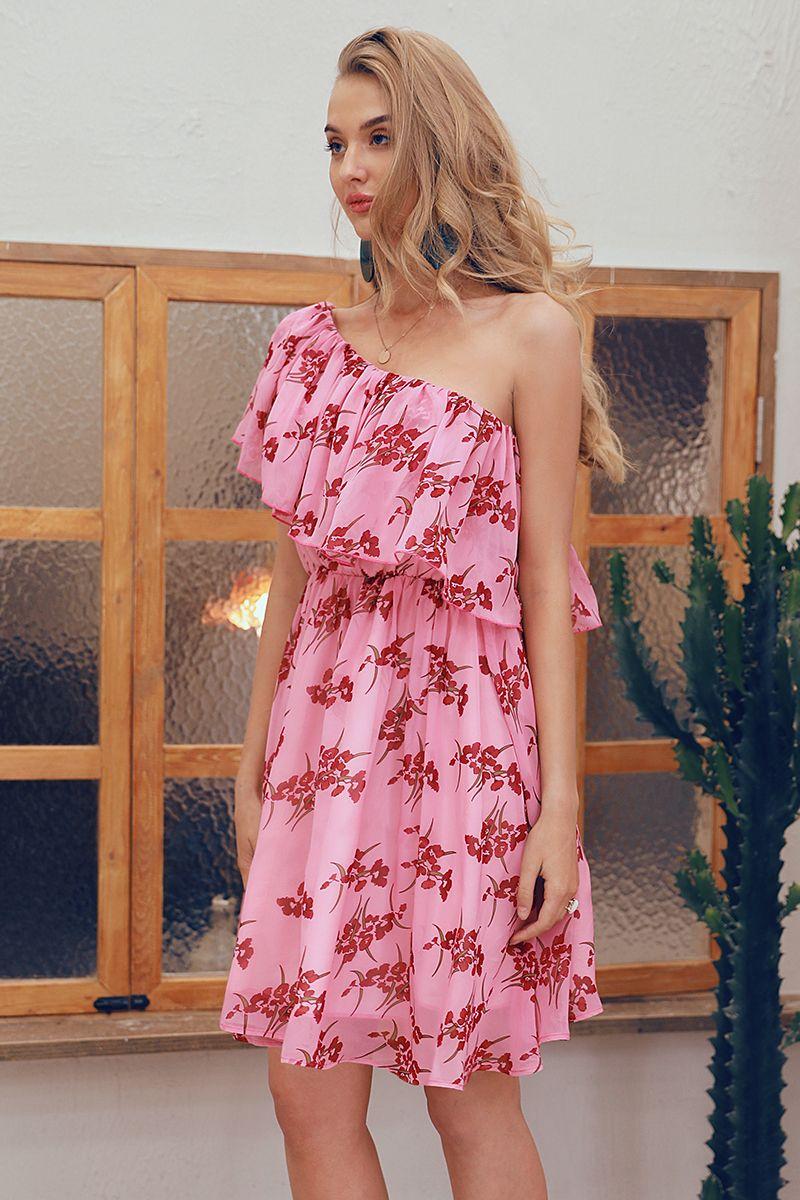 Women Summer One Shoulder Floral Short Dresses Girls Cute Dresses Floral Dresses Short Cute Dresses Dresses [ 1200 x 800 Pixel ]