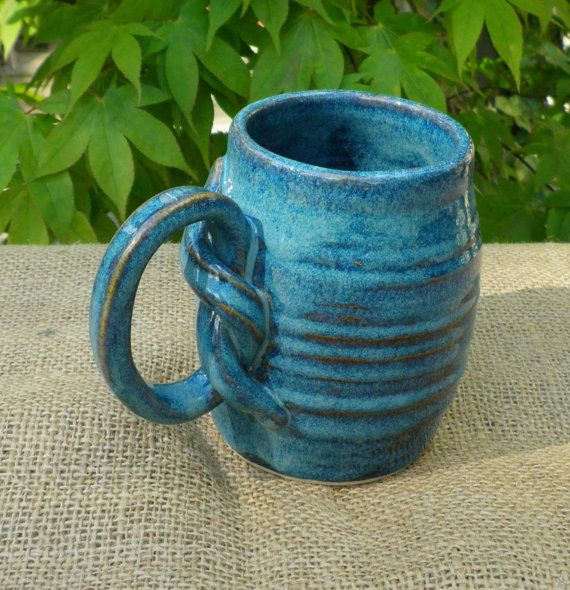 Coffee Mug Tea Cup Handmade In Stoneware Wheel Thrown Pottery Handthrown  Ceramic Knotted Handle