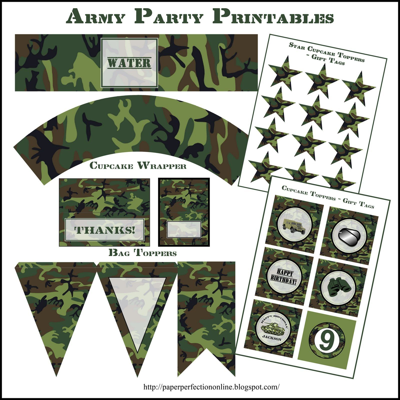 Paper Perfection Army Party Printables Army Party Party Printables Military Party