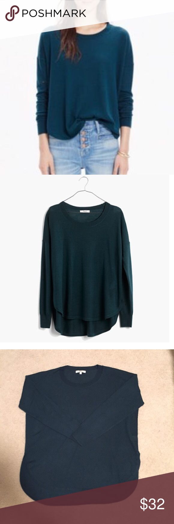 Madewell north star pullover A soft, swingy merino sweater with a cool exaggerated shirttail hem. Light, easy and a soon-to-be essential.   Swingy fit. Merino wool. Dark green color Madewell Sweaters Crew & Scoop Necks