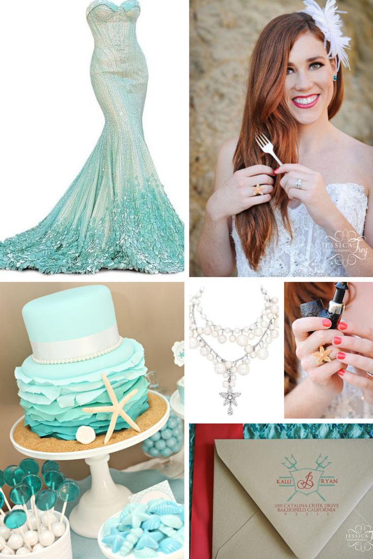 Hipster Ariel Marries Eric In This Fantasy Beach Wedding Little Mermaid Wedding Disney Inspired Wedding Ariel Wedding