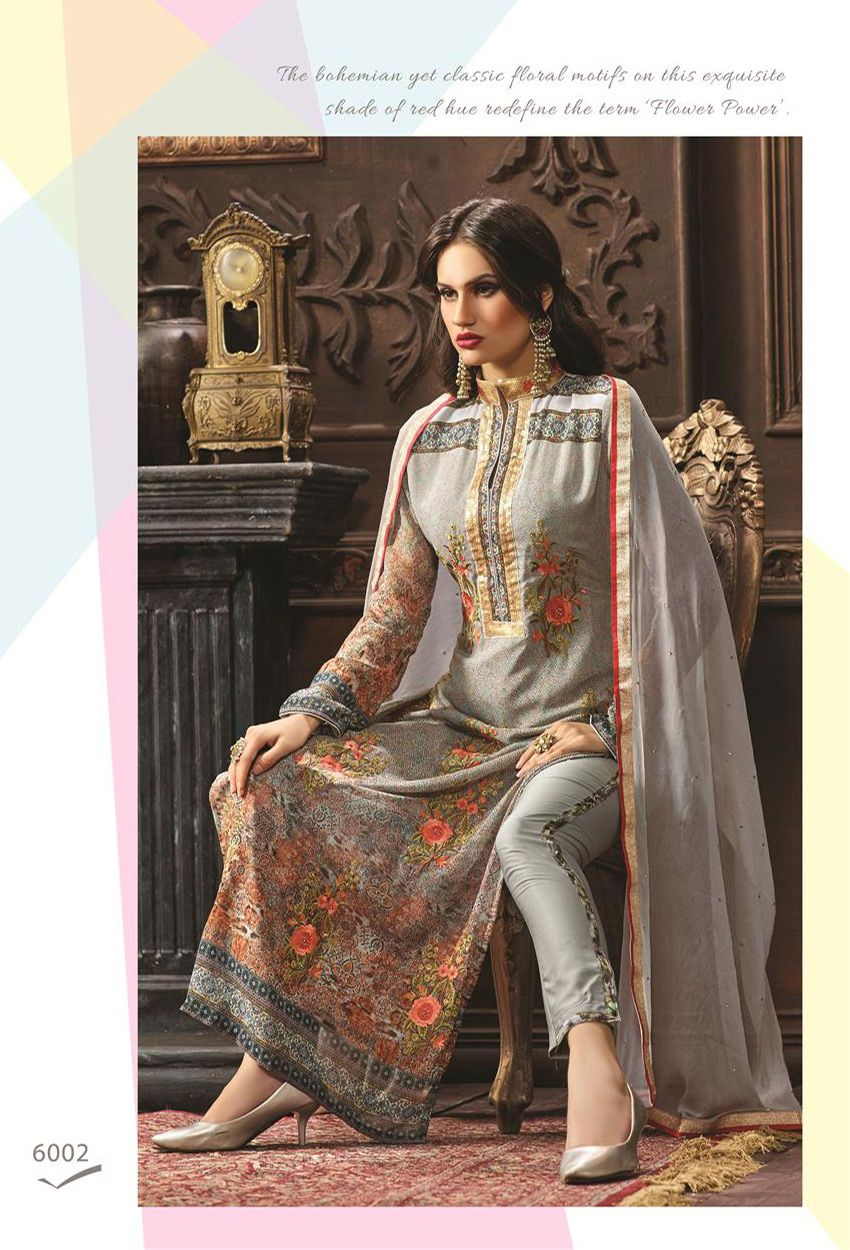 7ccafbe5f3 Semi #Stitched Gray #Printed #Straight Cut #Suit #nikvik #usa #designer  #australia #canada #freeshipping #suits #pakistani