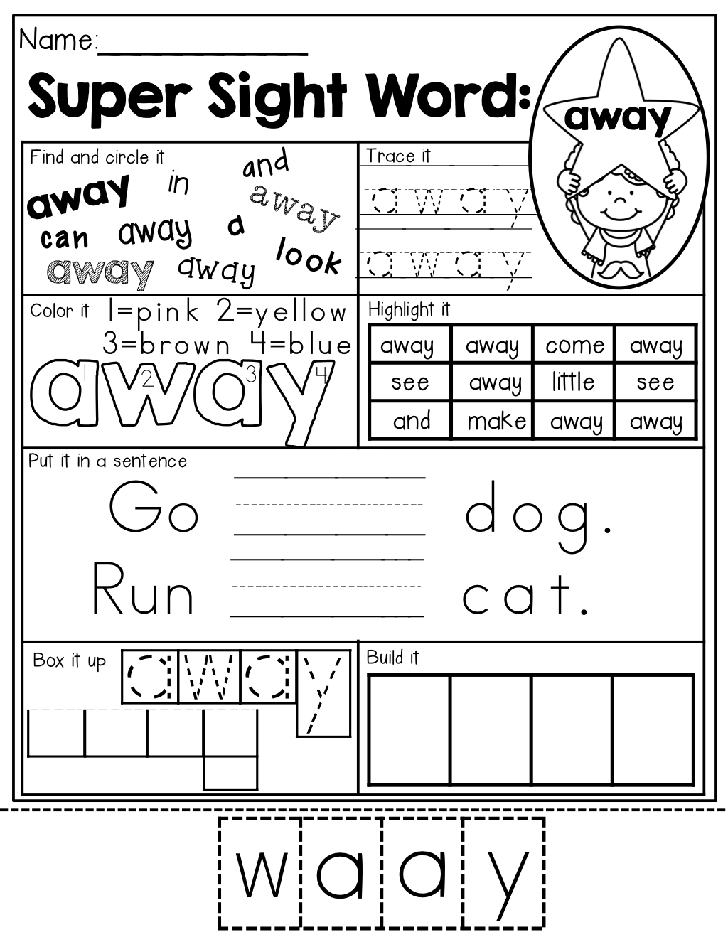 Sight Word Super Stars 7 Different Activities To Help Master Sight Words One Each Page