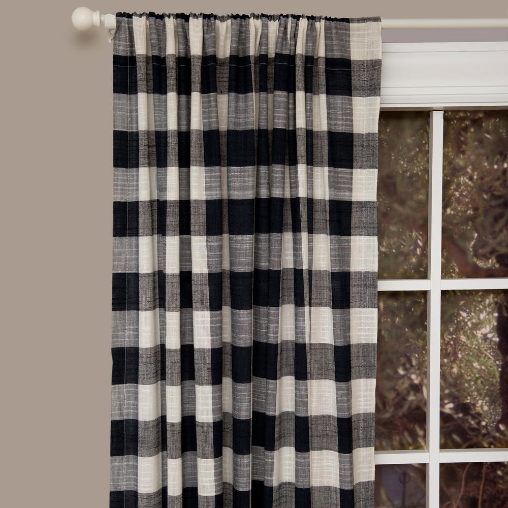 Heritage Lace Semi Opaque Buffalo Check 84 In L Cotton Valance In Navy Blue Cortinas Casas A Rod