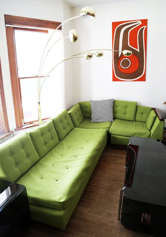 MCM Mid Century Modern Mad Men Sectional Couch Sofa. Bright Lime Green  Vintage 1960s Couch