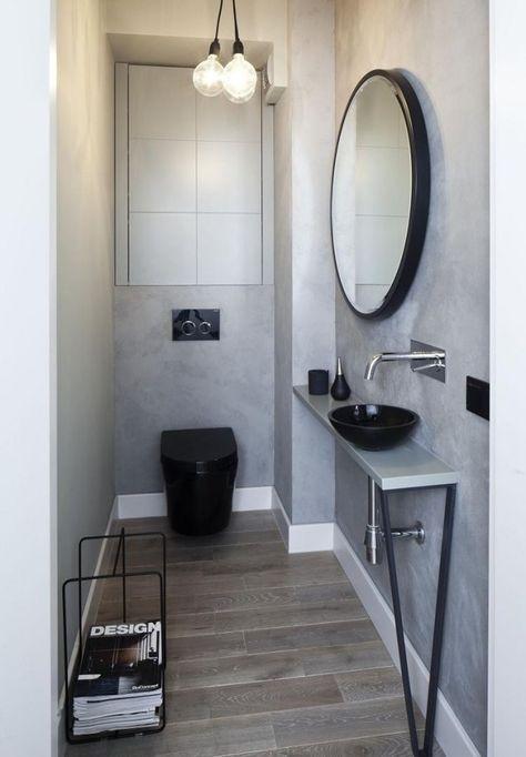 kleines bad modern bodenfliesen holzoptik graue wandfarbe schwarze sanit robjekte h room. Black Bedroom Furniture Sets. Home Design Ideas