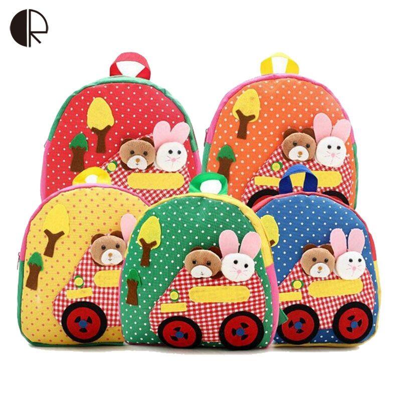 New Cute Kids School Bags Cartoon Animal Applique Canvas Backpack Mini Baby Toddler Book Bag Kindergarten