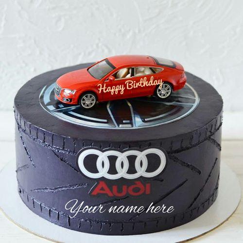 Sports Car Birthday Cake With Name Audi Designer Logo Write On