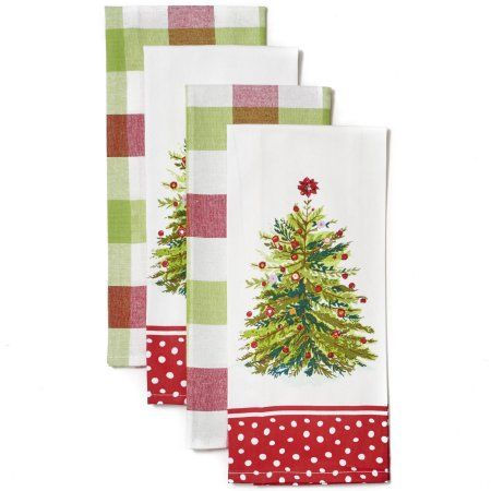 The Pioneer Woman Holiday Tree Kitchen Towel Set 4pk Walmart
