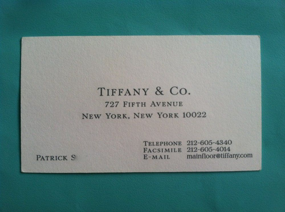 tiffany & Co business card - Google Search | The Firm | Pinterest