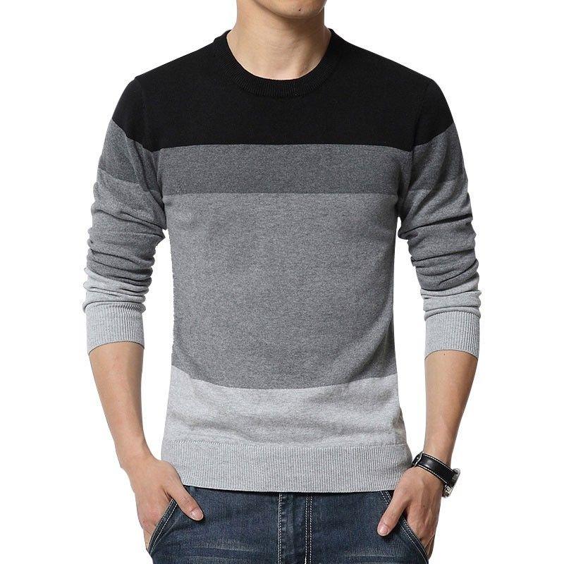 bdab3398377b Camiseta Blusão Listrada de Inverno Masculina Manga Longa em Lã ...