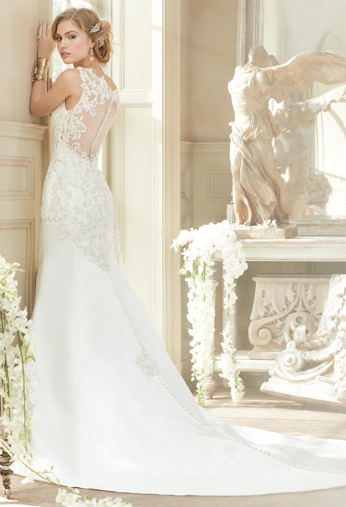 Lace Illusion Back Satin Trumpet Wedding Dress Wedding Dresses Dresses Trumpet Wedding Dress [ 1732 x 1184 Pixel ]