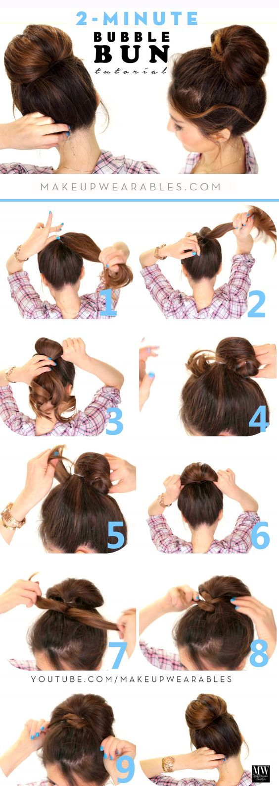 Minute bubble bun hairstyle lazy hairstyles cabello