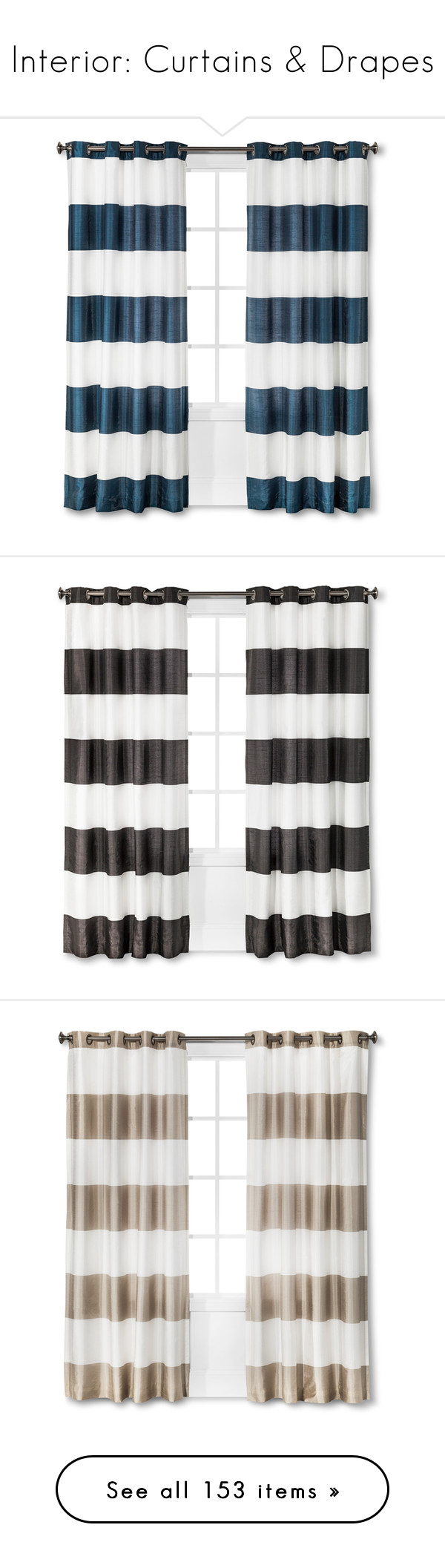 """""""Interior: Curtains & Drapes"""" by jacci0528 ❤ liked on Polyvore featuring home, home decor, window treatments, curtains, modern window treatments, modern curtain panels, grommet drapery panels, cabana stripe curtains, grommet window treatments and bold stripe curtains"""