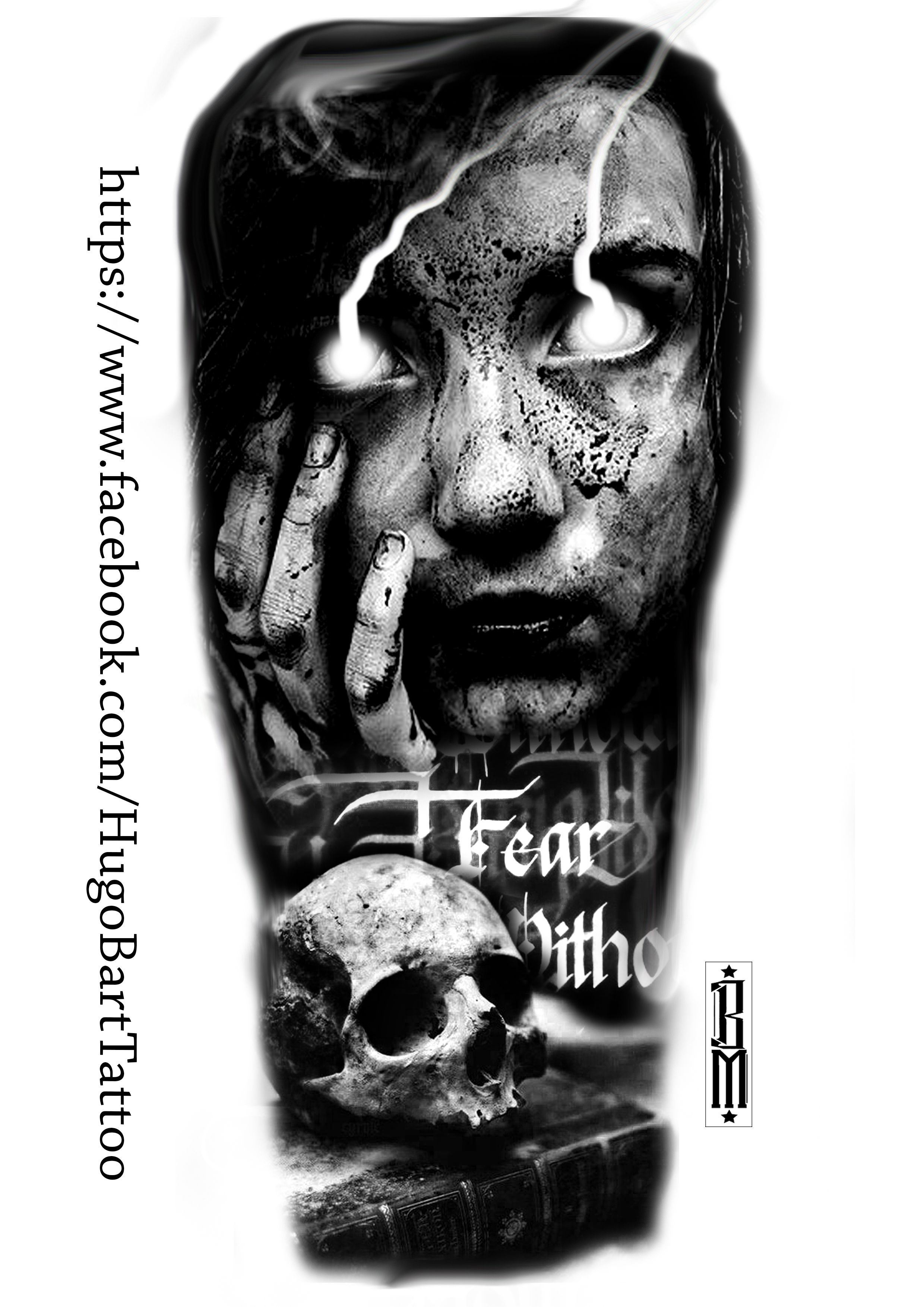 Skull Zombie Scarry Design Girl Book Horror Fear Tattoos Black And
