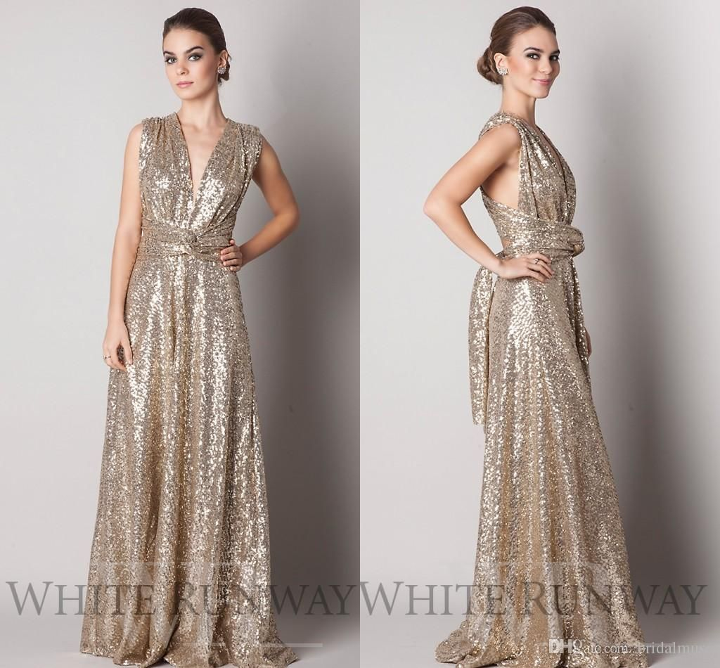 Convertible style gold sequins bridesmaid dresses long 2016 plus convertible style gold sequins bridesmaid dresses long 2016 plus size maternity long floor length a line ombrellifo Images