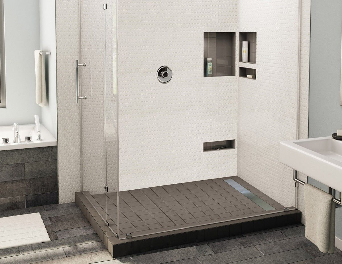 Redi Trench Double Curb Shower Pan With Right Linear Drain