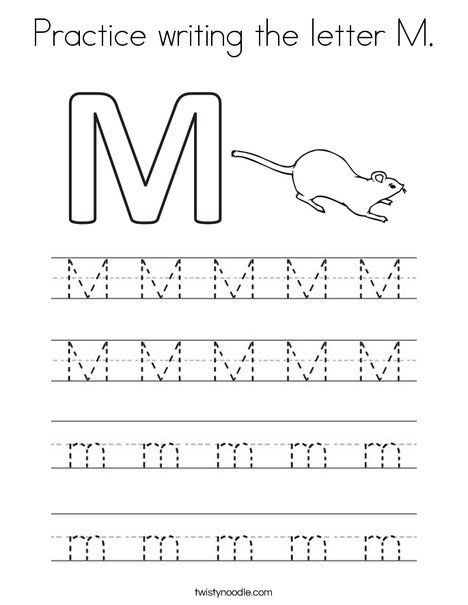 Practice writing the letter M Coloring Page - Twisty Noodle ...