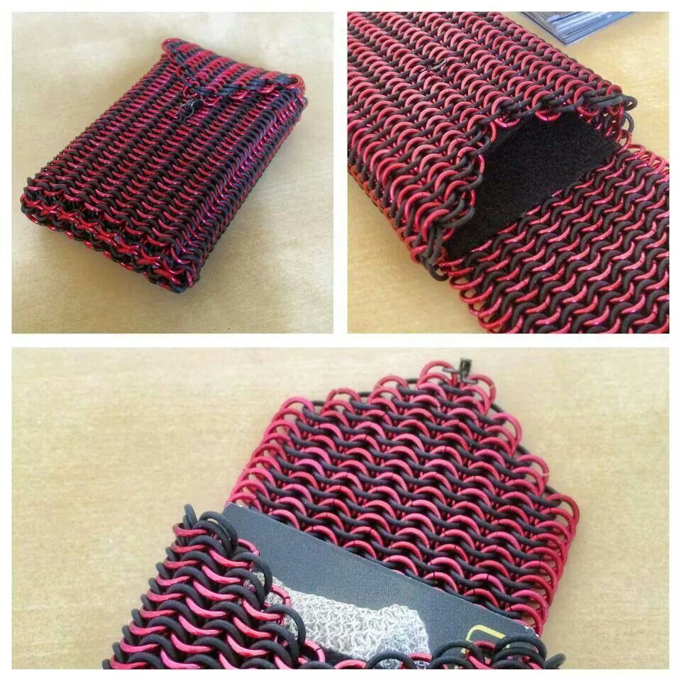 Chainmaille business card holder red aa and black rubber glued chainmaille business card holder red aa and black rubber glued felt inside euro bankloansurffo Image collections