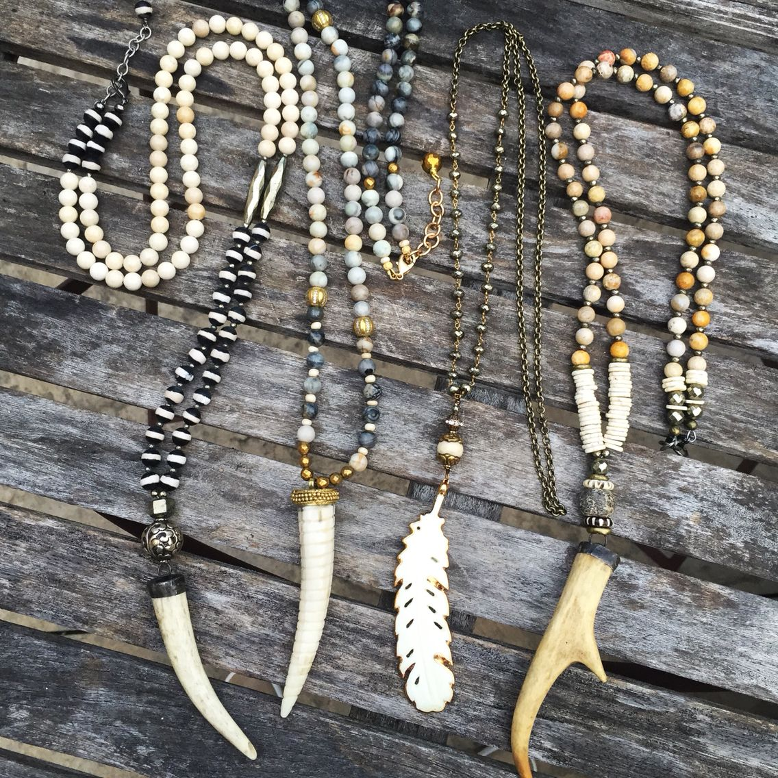 Antler and bone beaded necklaces. Lisajilljewelry@gmail.com
