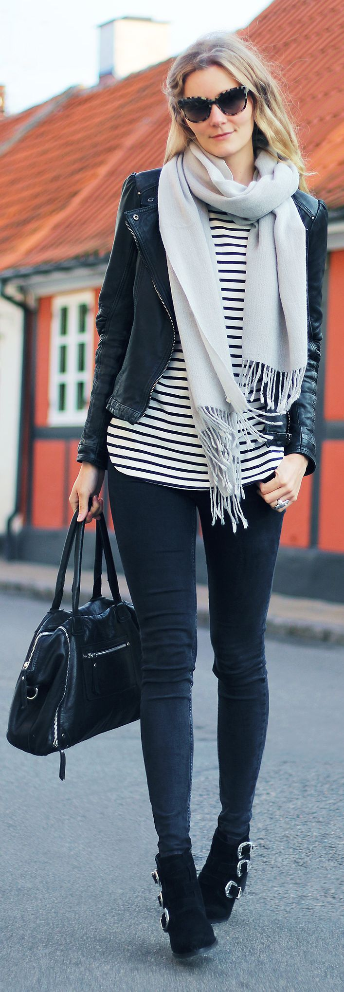 Passions For Fashion Stripes With Black Fall Inspo women fashion outfit clothing stylish apparel @roressclothes closet ideas