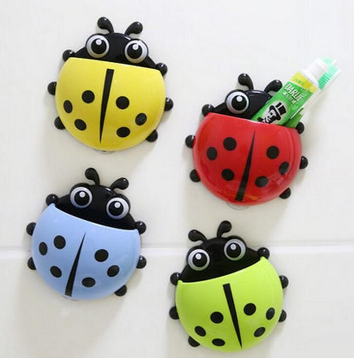 Bathroom Shelves 1pc Cute Novelty Ladybug Toothbrush Holder Toiletries Toothpaste Holder Bathroom Sets Suction Tooth Brush Container Bathroom Fixtures