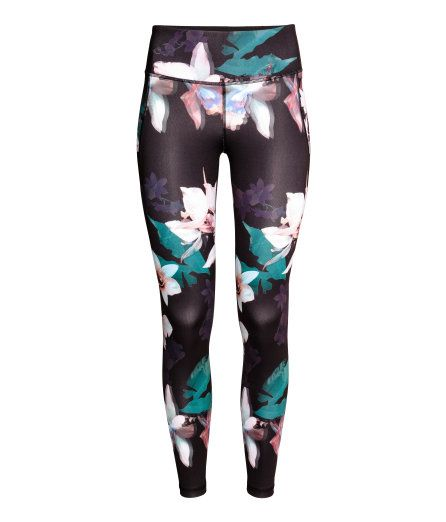 2105ab7c69bf0 Sports Tights | Black floral | Ladies | H&M US | workout | Sports ...