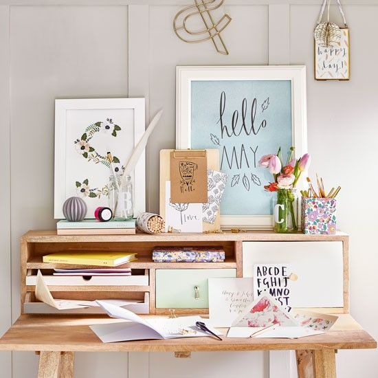 Country home office with calligraphy artwork