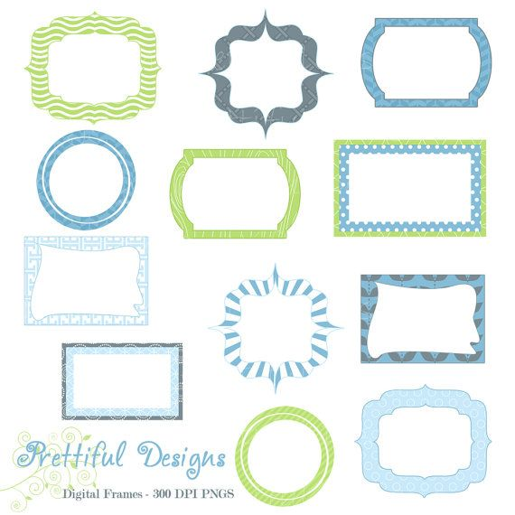Digital Frames Clip Art Baby Boy Fathers Day Instant Download ...