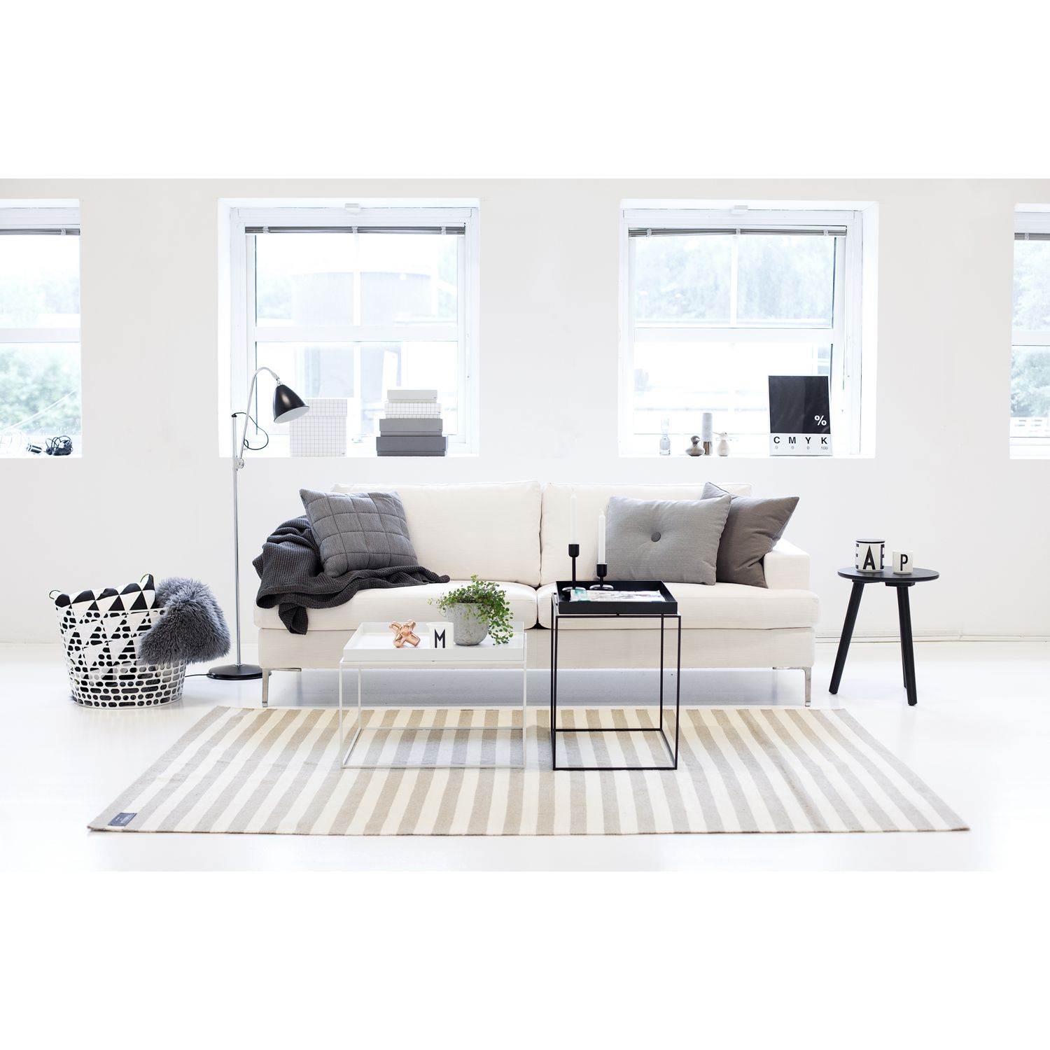 All white with grey accents Scandinavian design Nordic