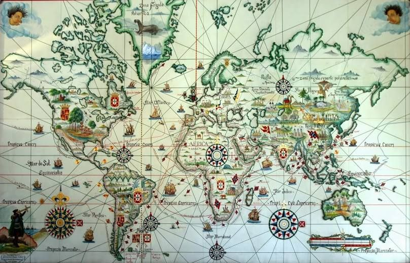 Os Descobrimentos Portugueses Map Art Illustrated Map Vintage Maps