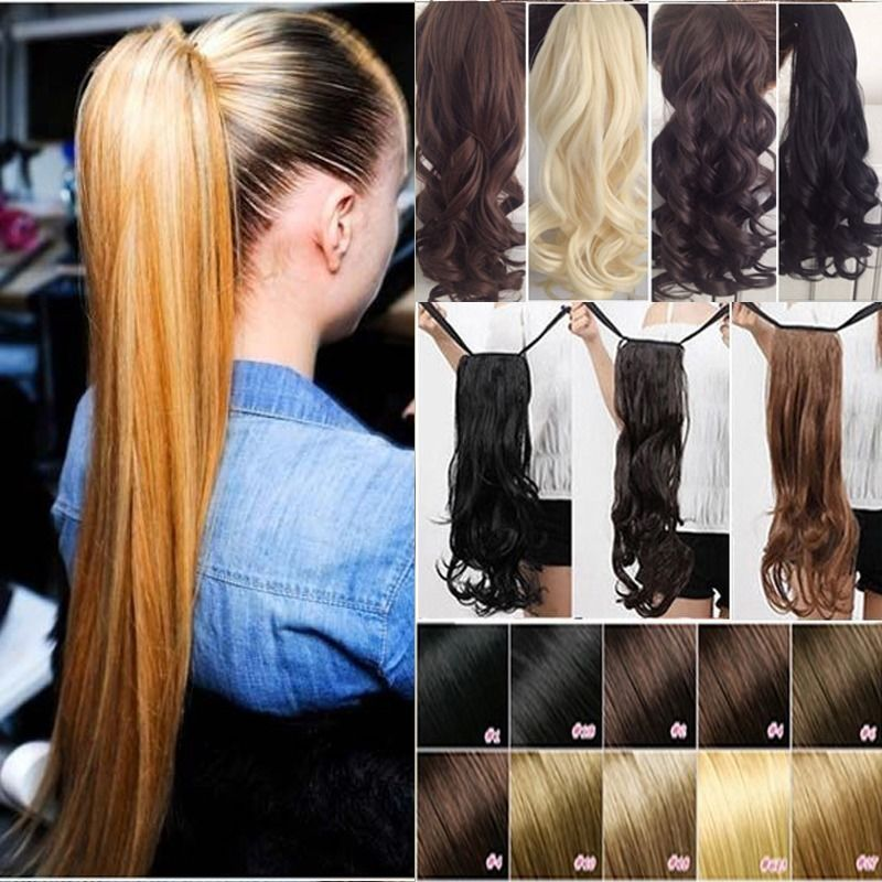 Us 100 Real New Clip In Human Hair Extension Pony Tail Wrap Around Ponytail Df Human Hair Ponytail Extensions Ponytail Hair Extensions Tape In Hair Extensions