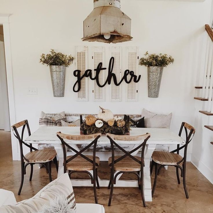 Neutral Farmhouse Dining Room White Farmer Table Black And Wood Chairs Simple Centerpiece