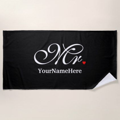Personalized Mr Husband Groom His Hers Newly Weds Beach Towel