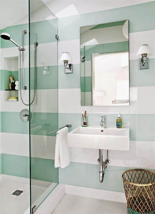 Papel pintado de rayas en un baño #pared | Home Decor ...